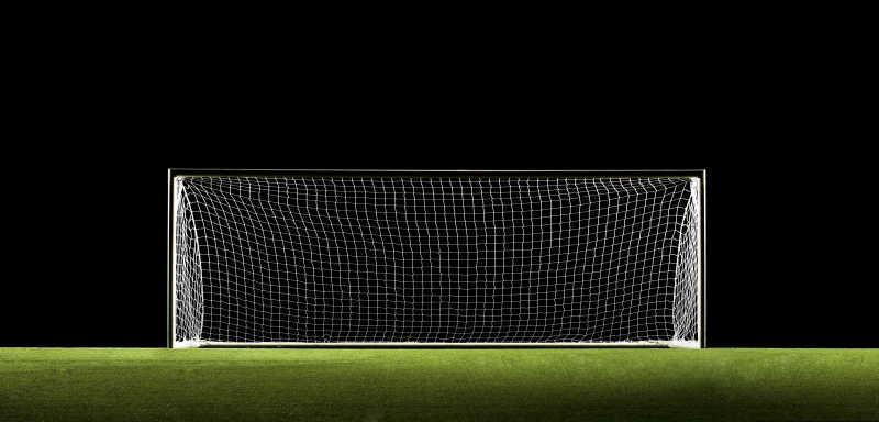 足球球门或足球球门广角特写