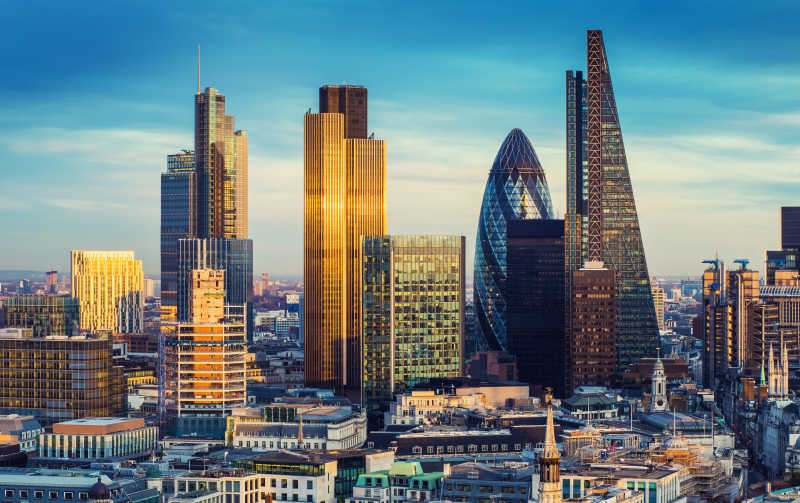 伦敦著名摩天大楼特写
