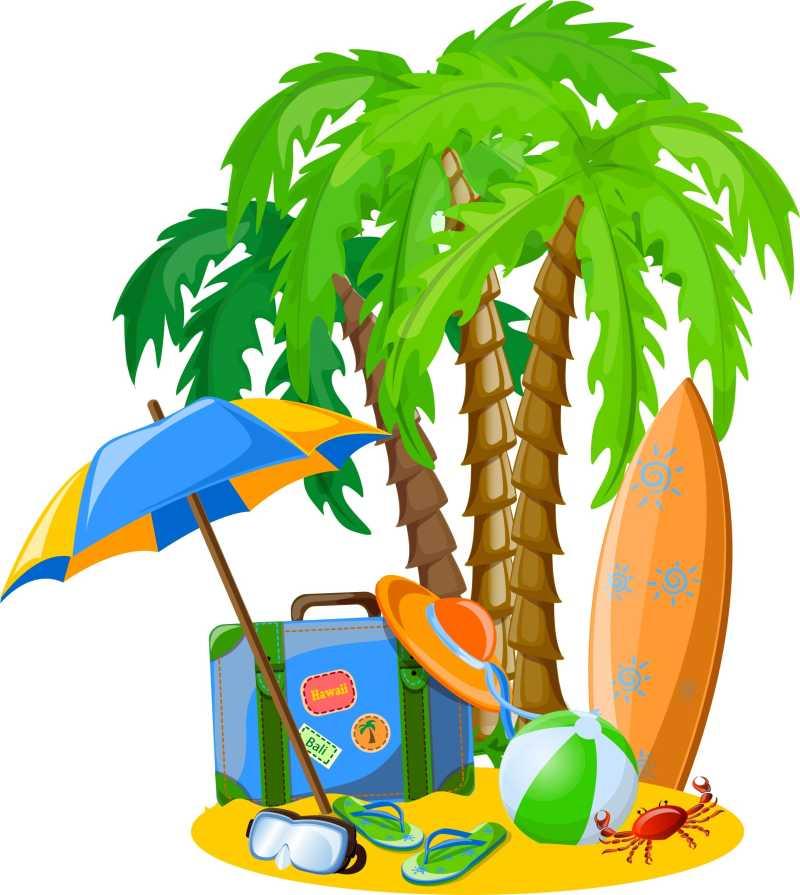 沙滩旅游概念图标特写