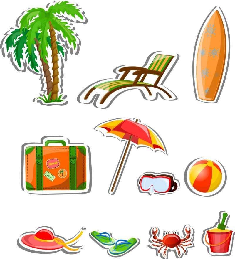 沙滩旅游概念图标