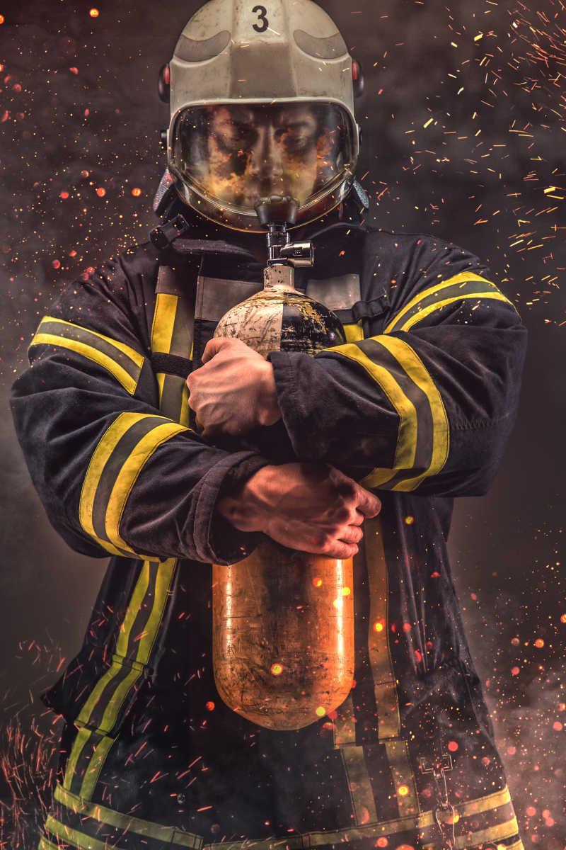消防救人图标素材_消防员画像图片-氧气面罩消防队员肖像素材-高清图片-摄影照片 ...