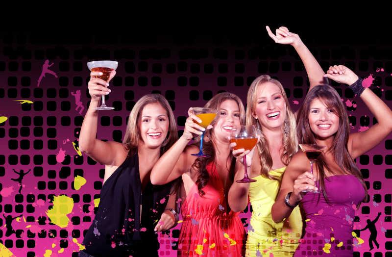 聚会中的一群女孩