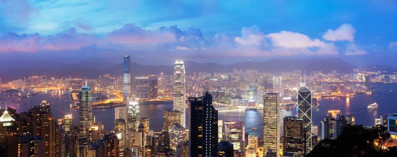 中国香港维多利亚港俯视图