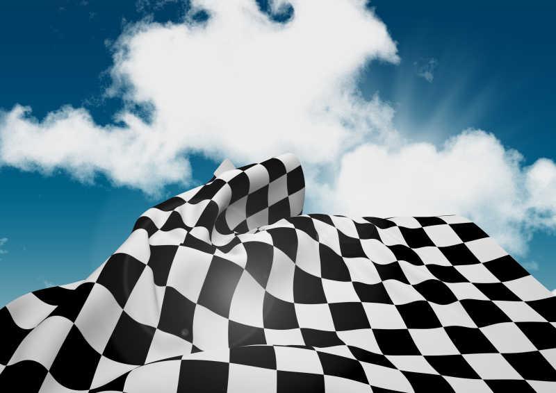 天空下的F1赛车旗帜