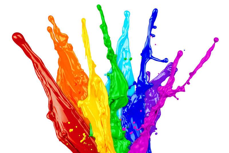 白色背景下彩虹版的颜料飞溅