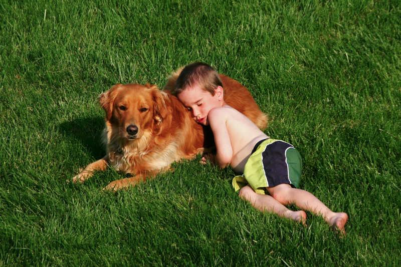 在草坪上睡在狗狗身上的男孩