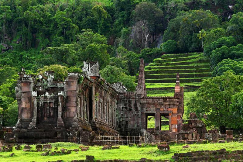 对瓦普或石佛寺的观点是在老挝南部的联合国教科文组织世界遗产