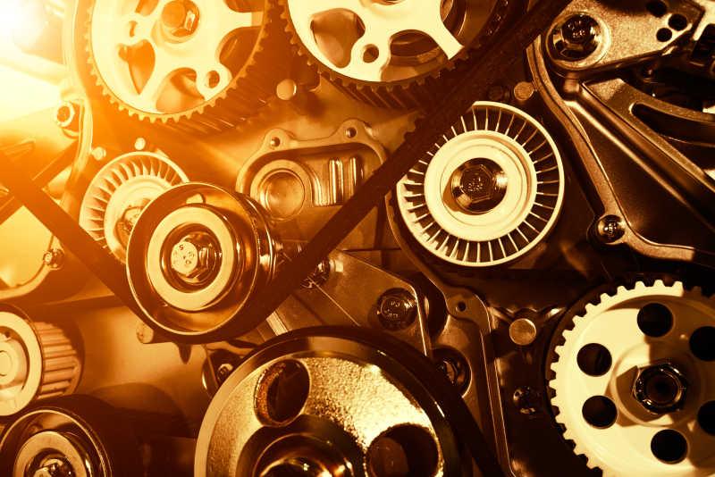 汽车齿轮和皮带特写