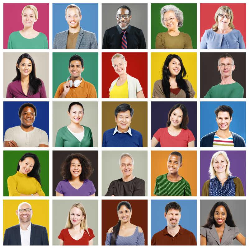 不同国家人脸肖像集合拼图
