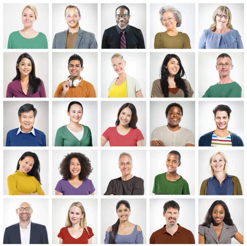 各个国家的人民微笑肖像拼图