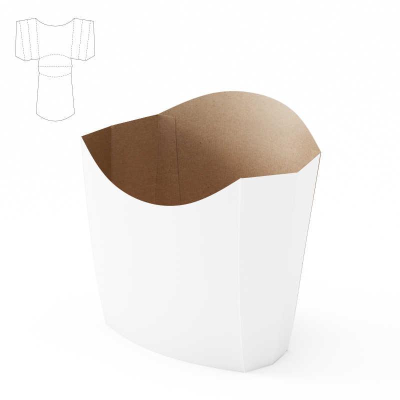 白色装薯条的纸板包装盒