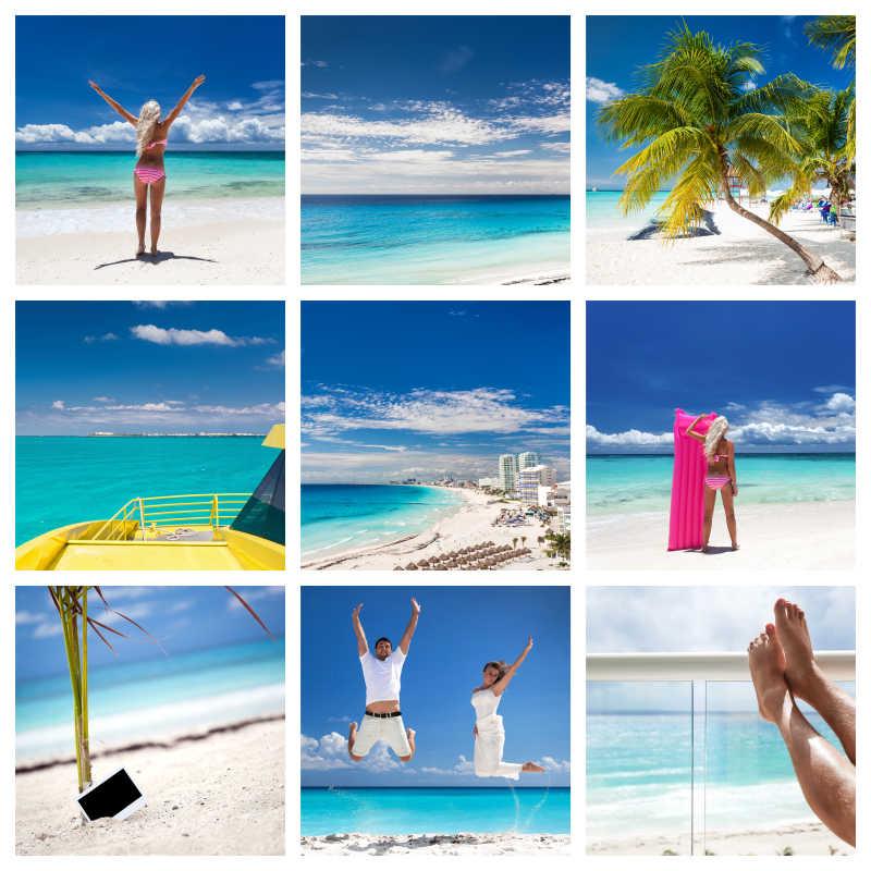 墨西哥海滩与游客