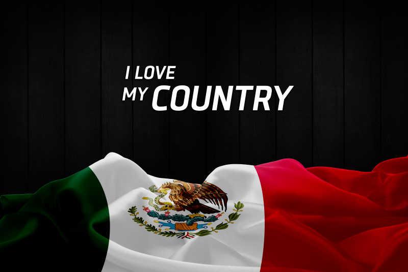 黑色背景上的墨西哥国旗