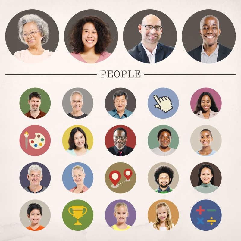 不同民族的人脸肖像