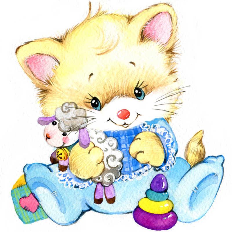 可爱的抱着小羊玩偶的猫咪插画
