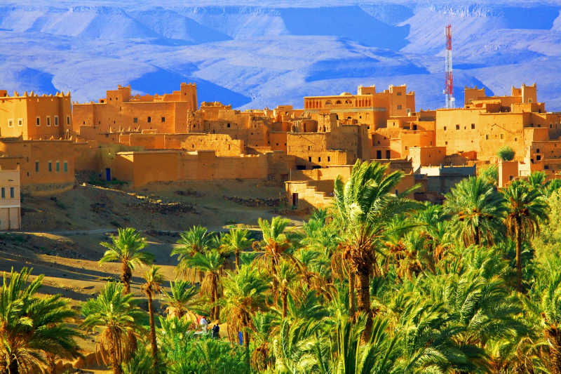 阿特拉斯山背景下的摩洛哥城堡与绿色植物