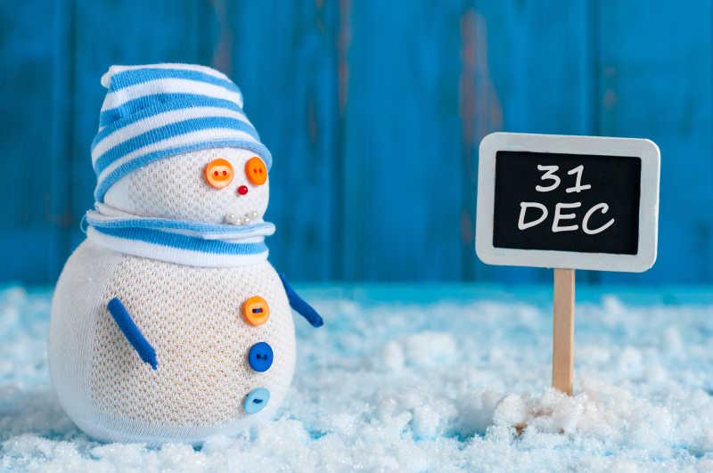 蓝色可爱的小雪人
