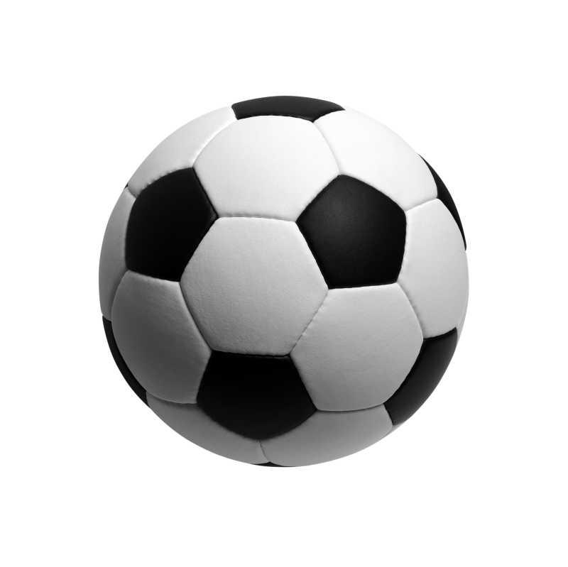 白色背景上足球特写