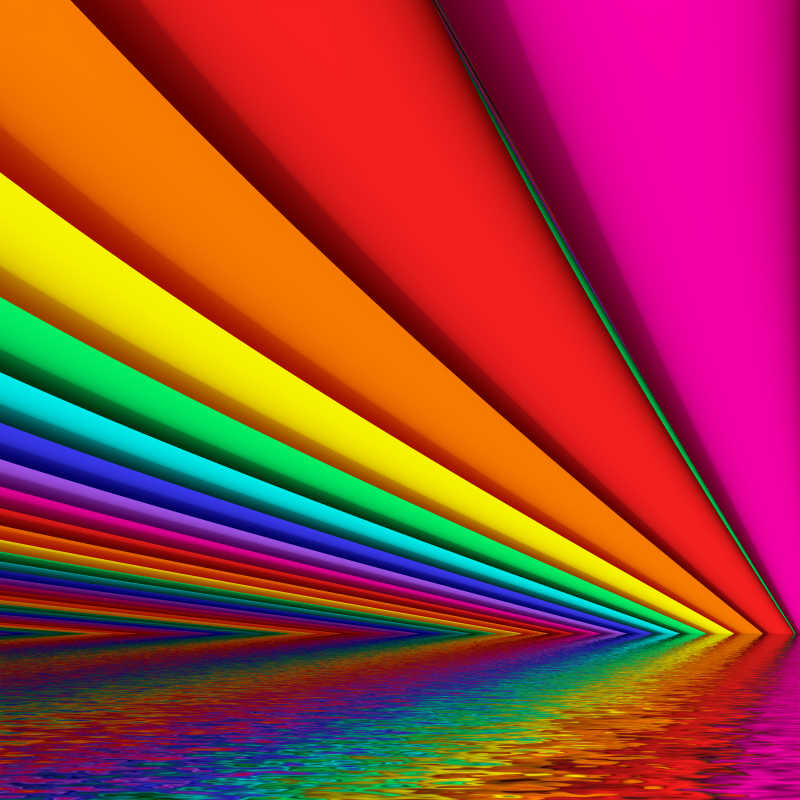 带波浪反射的彩虹色创意