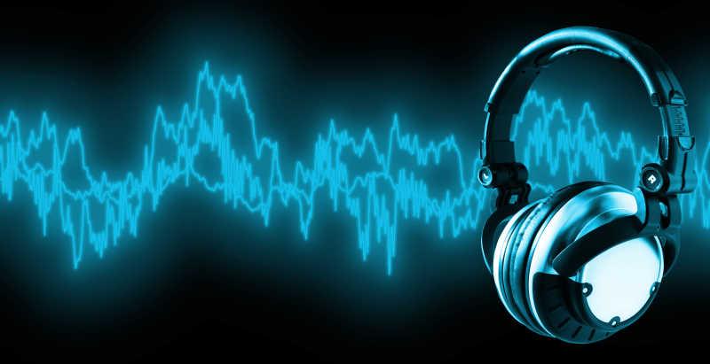 黑色背景下耳机接收音频