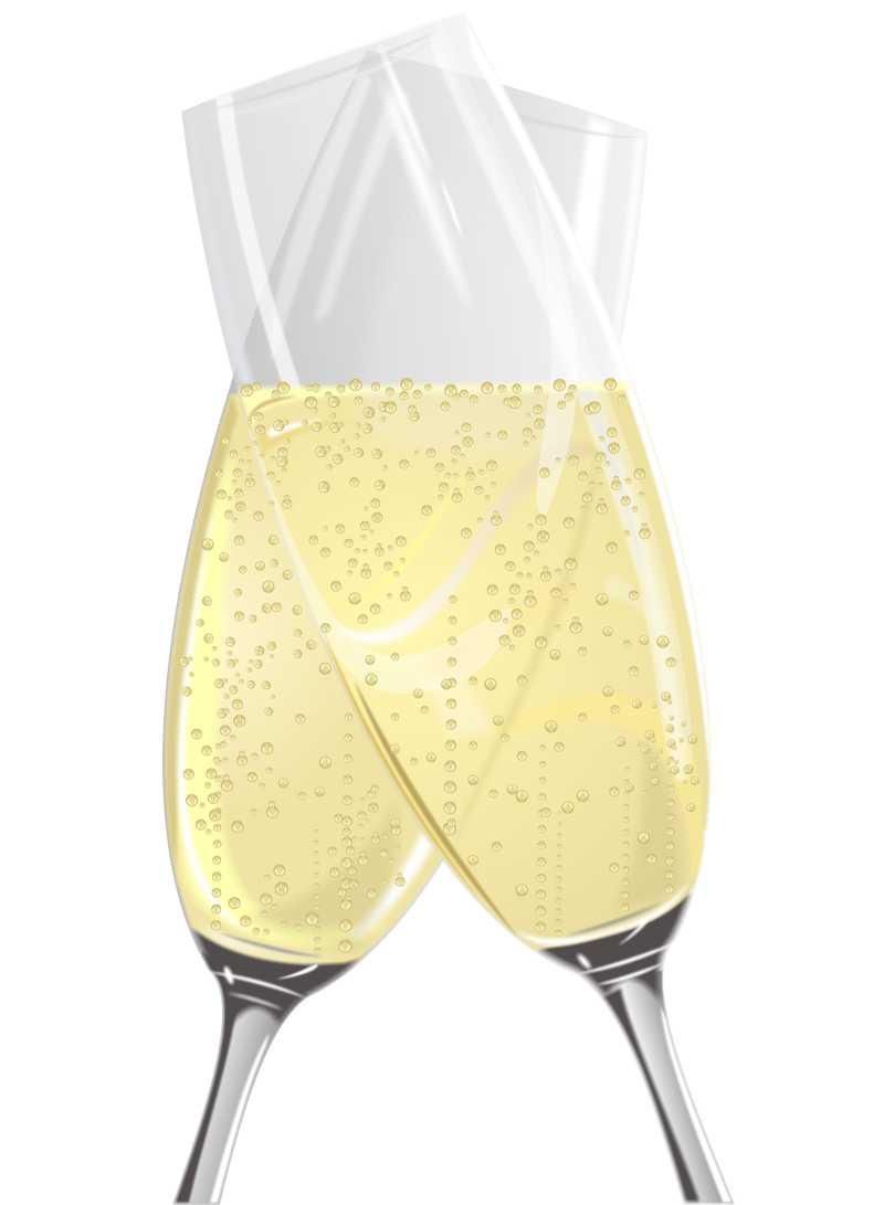 白色背景下香槟酒杯