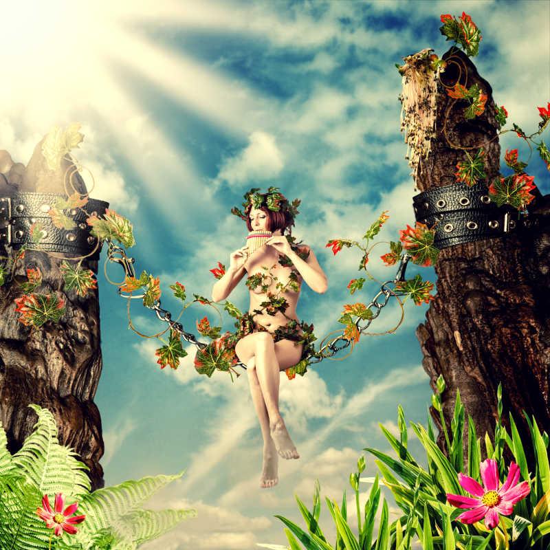 年轻貌美的仙女在荡秋千