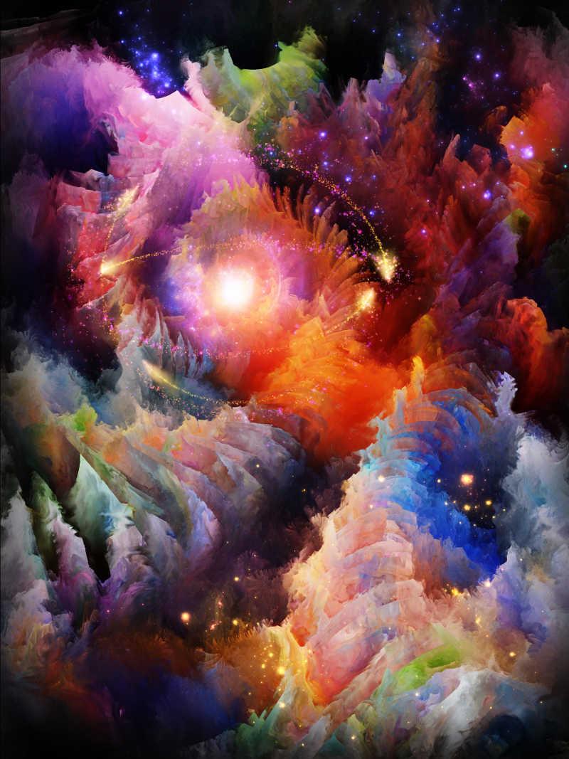 关于想象力和艺术主题的色彩多维分形世界背景设计