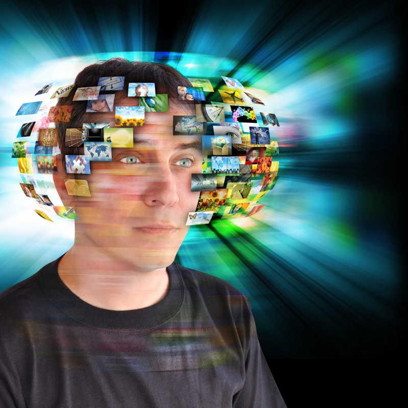 科技人员脑子里有一幅抽象的光芒