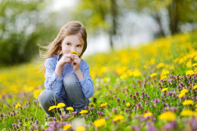 草地上的美丽小女孩