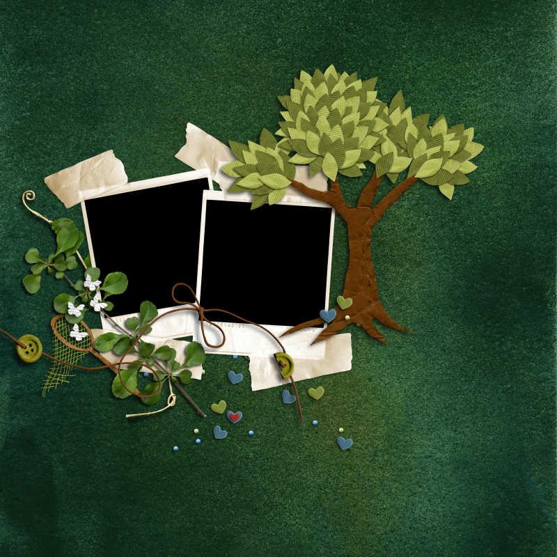 深绿色背景上绿色树木装饰的框架