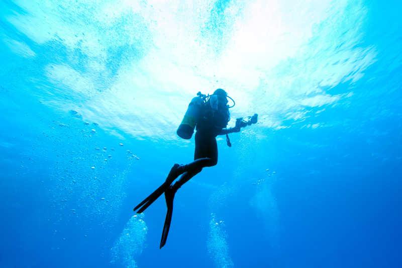 正在潜水的潜水员