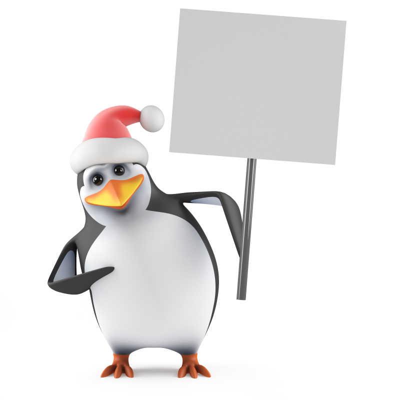 举着牌子的可爱卡通企鹅