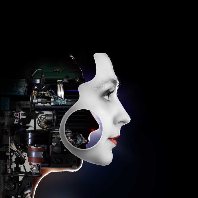 黑色背景下的女性机器人头部
