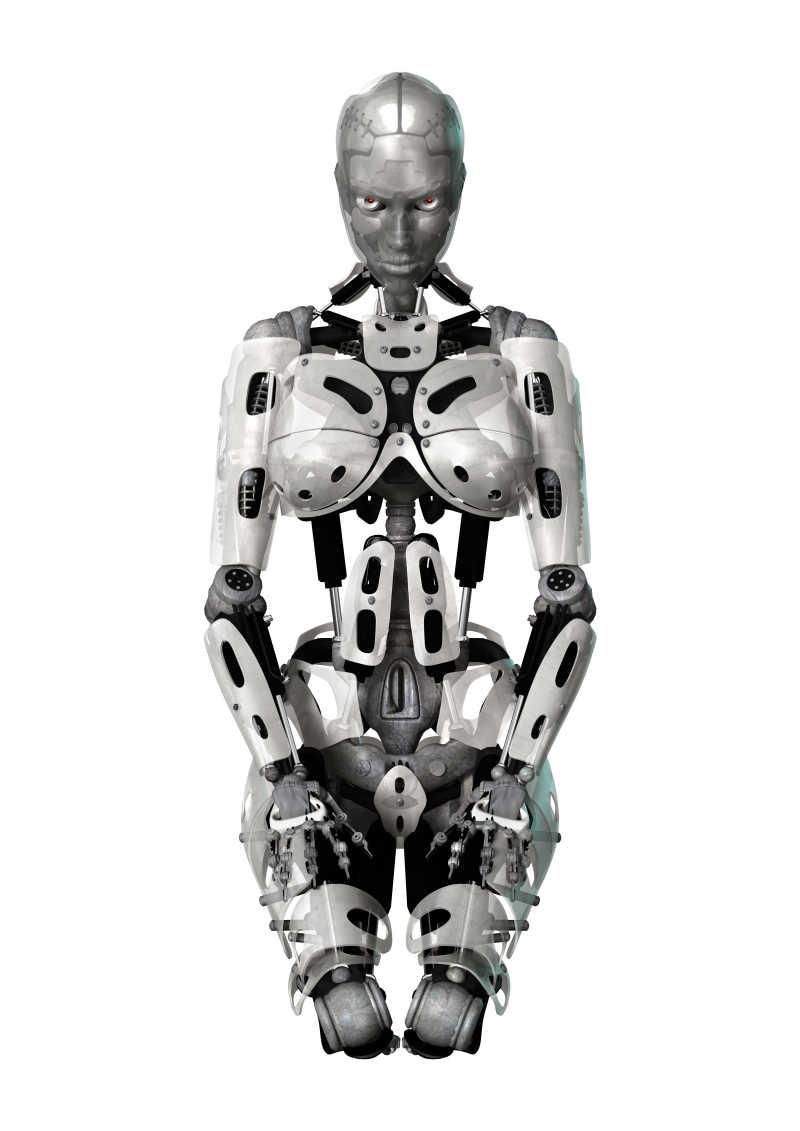 白色背景下的女性机器人