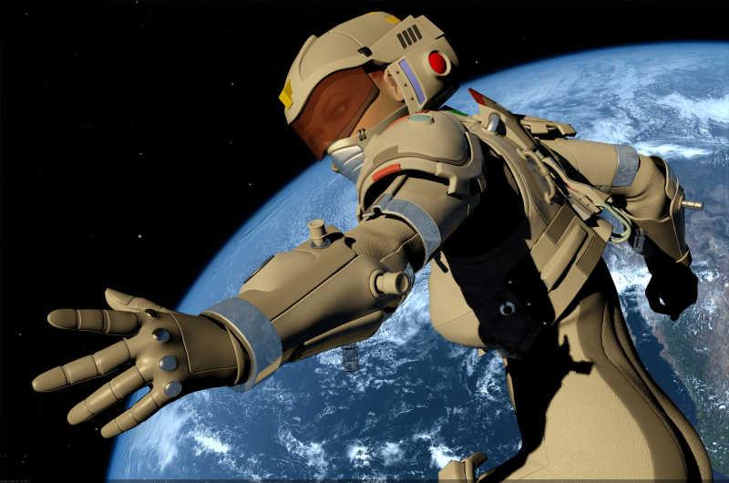 行星背景下的机器人