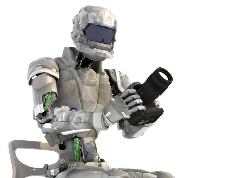白色背景拿相机的机器人
