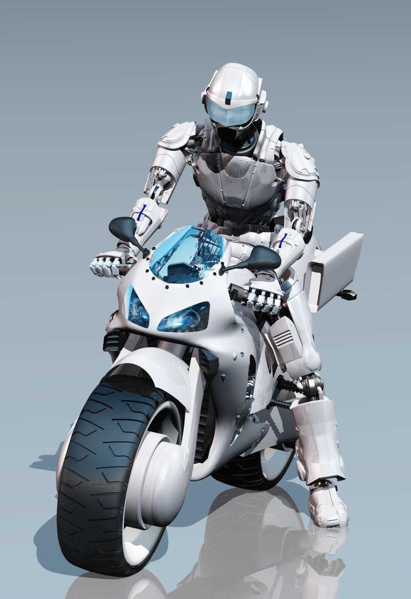 镜面上骑摩托车的机器人