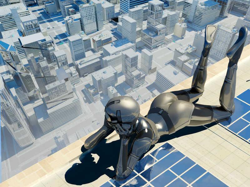 在摩天大楼趴着的机器人