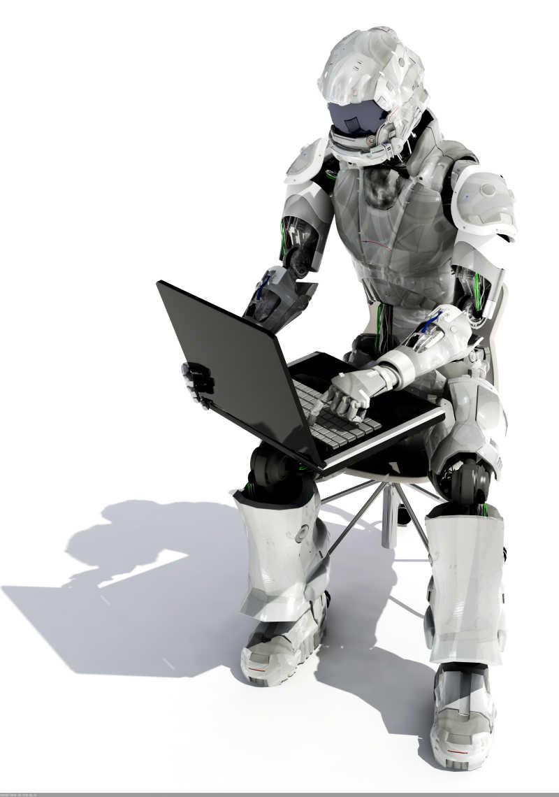 机器人在计算机上工作