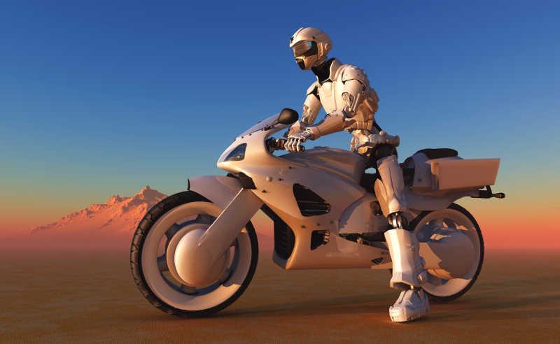 骑在摩托车上的机器