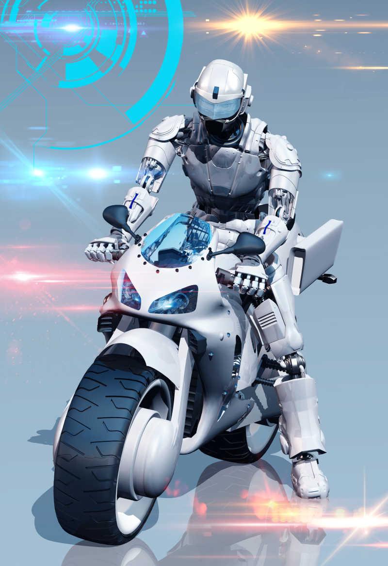 镜面上的机器人和摩托车