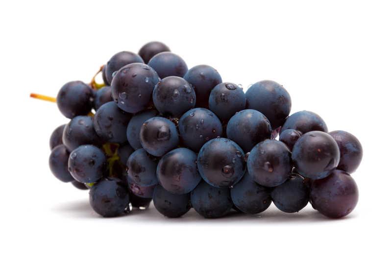 一串成熟多汁的紫葡萄