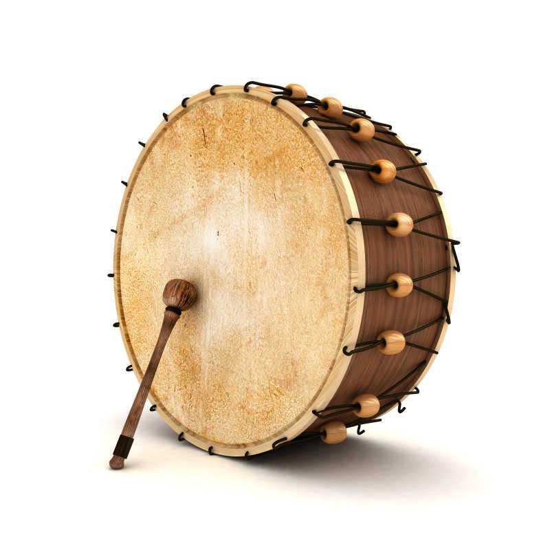 白色背景上的木制鼓