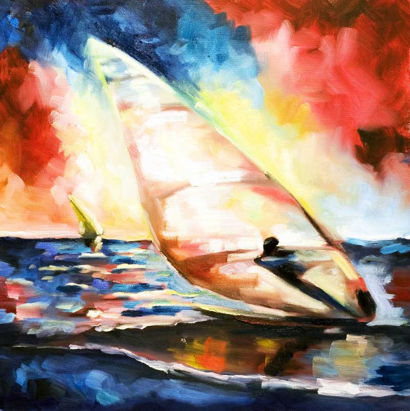 正在进行帆船运动的油画