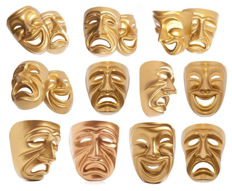 白色背景上不同心情的金色面具