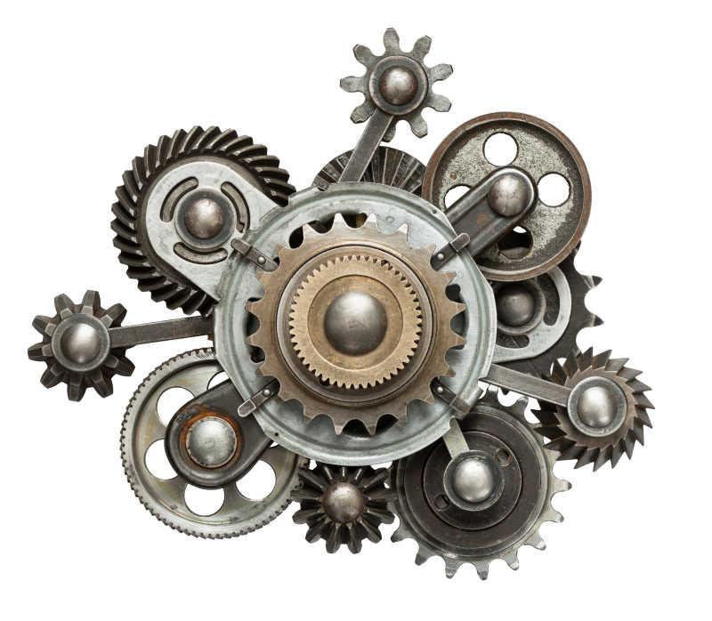 程式化机械拼贴由金属齿轮制成
