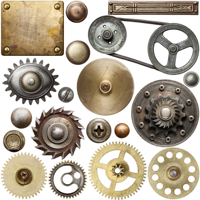 螺丝头齿轮纹理和其他金属细节