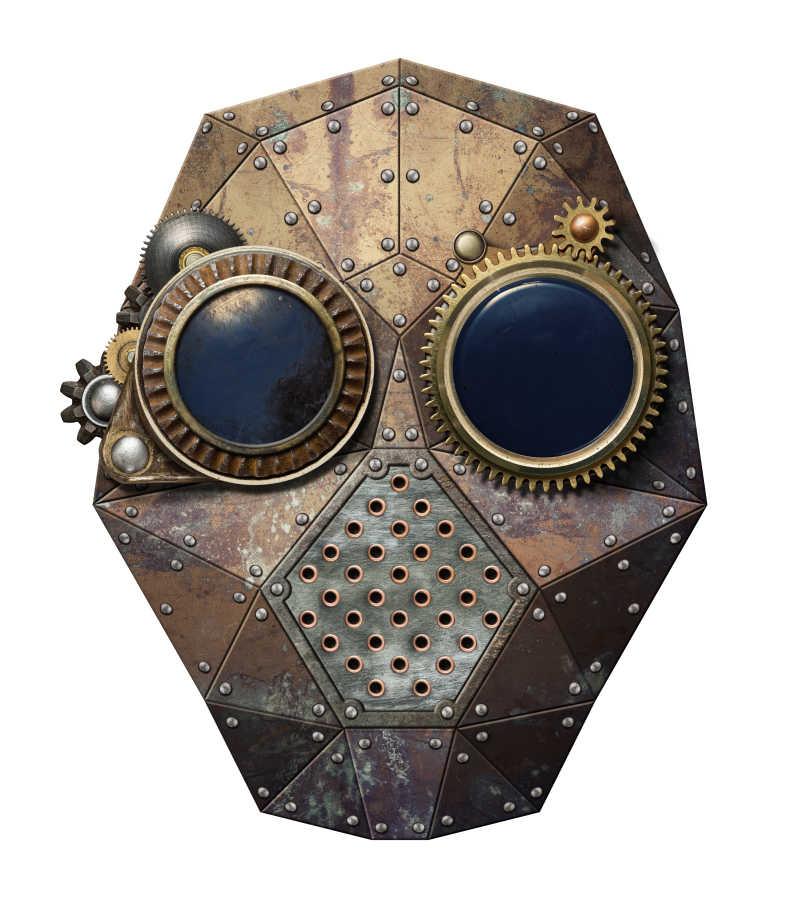 蒸汽朋克金属机器人头部