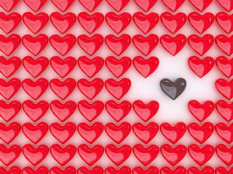 红心红心之间的巧克力心