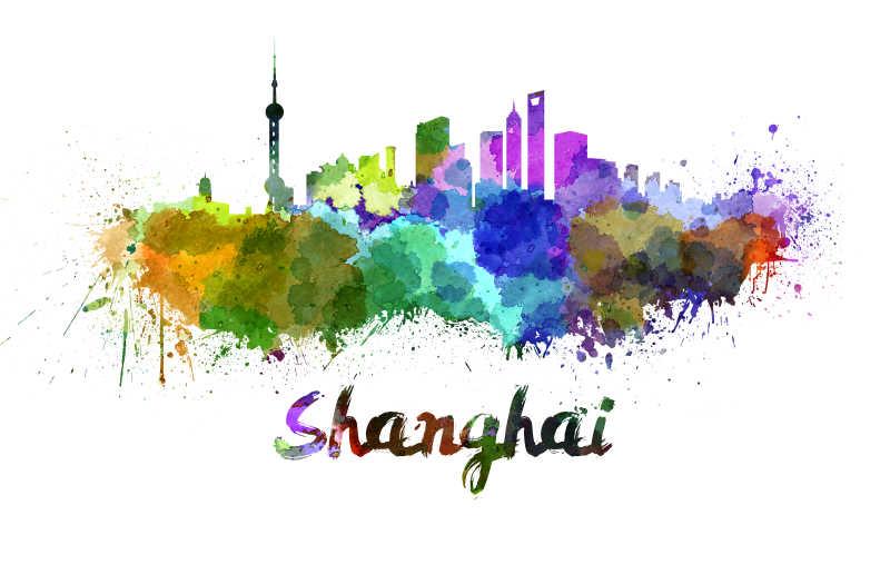 上海的城市水彩画